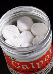 Metal container of 50 tablets of Calpol  1975-1985.