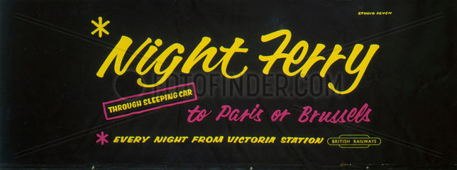 'Night Ferry'  BR carriage advertisement  1950s.