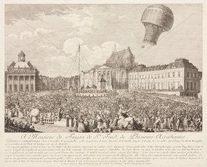 Ascent of a Montgolfier Balloon at Versailles  19 September  1783.