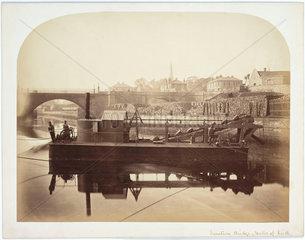 Dredger by Junction Bridge  Leith  Scotland  c 1863.