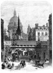 Bridge at Ludgate Hill  London  mid-late 19th century.