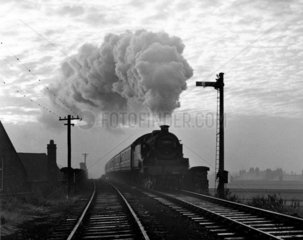 Steam train approaching Wigan Central Station  24 October 1964.