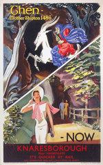 'Knaresborough: Then and Now'  LNER poster  c 1930s.