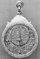 Small brass planispheric astrolabe with ara
