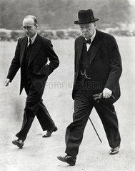Winston Churchill out walking  27 September 1939.