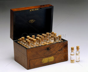 Walnut homeopathic medicine chest  late 19th century.