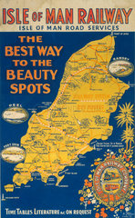 'The Best Way to the Beauty Spots'  Isle of Man Railway poster  c 1920.
