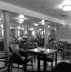 Smoking room on the 'Queen Elizabeth' at Ocean Terminal  Southampton  1950.