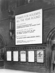 Advertisement for holidays to France at St Pancras Station  London  1939.