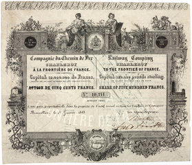Share certificate for a French railway  1863.