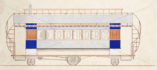 Design for a tramway car  1870-1875