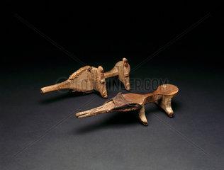 Pair of Nuba wooden pattens (shoes)  Sudan  c 1890-1920.
