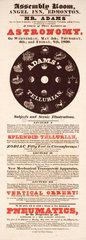 Mr Adams' lectures on astronomy  Edmonton  handbill  London  1830.