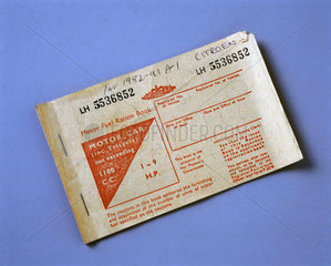 Motor fuel ration book  Serial No LH 553685  1973.