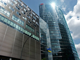 Deutsche Bahn building in the sunshine  Berlin  2004