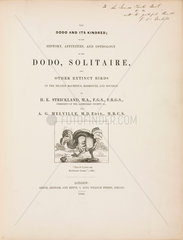 Title page to 'The Dodo and its Kindred'  1848.