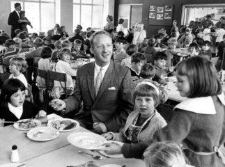 Councillor Tom Taylor eating a school dinner  Lancashire  September 1967.