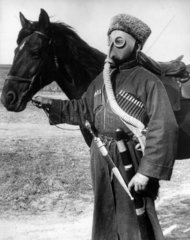 Cossack in a gas mask  November 1938.