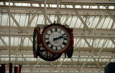 Station clock in Waterloo Station  London  1993.