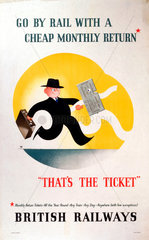'Go by Rail with a cheap Monthly Return'  c 1950s.