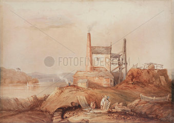 Engine house on the bank of the River Tamar  Cornwall  c 1840.