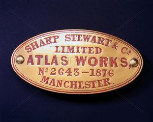 Sharp  Stewart and Co Ltd name plate  1876.