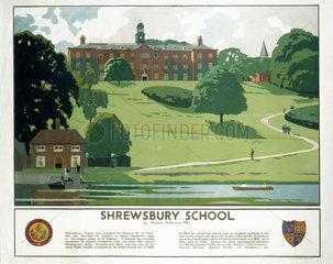 'Shrewsbury School'  LMS poster  1938.