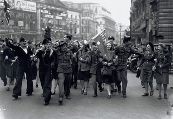 VE day celebrations in Piccadilly  London  WWII  7 May 1945.