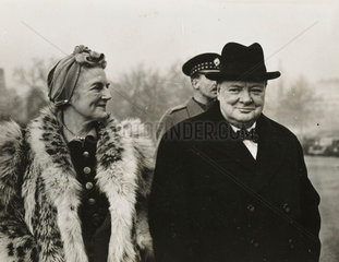 Mr and Mrs Churchill on Home Guards Parade  London  1941
