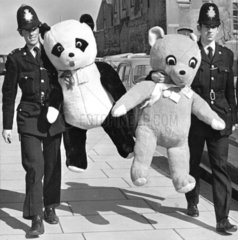 Policemen with giant cuddly toys  Brighton  March 1970.