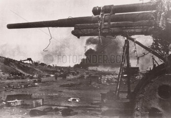 A Soviet gun on the Volga Embankment  Stalingrad  1942.