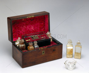 Medicine chest with contents  1840-1900.