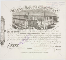Share Certificate for Middleton and Tonge Cotton Mill Co Ltd  1875.