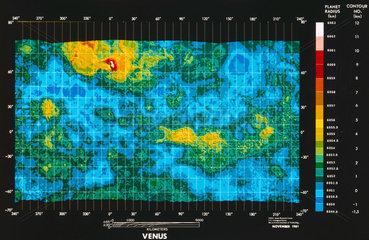 Topographical map of Venus  November 1981.