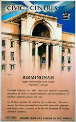'Civic Centres - Birmingham'  BR poster  1948.