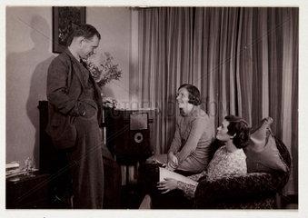 Listening to the radio  c 1935.