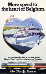 'More speed to the heart of Belgium'  BR poster  c 1980s.
