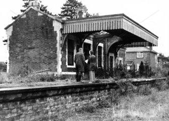 Abandoned railway station  Gloucestershire  1977.