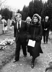 Edward Kennedy and Jackie Onassis at Lord Harlech's funeral  February 1985.