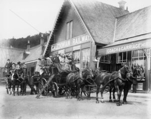 Horse-drawn Charabanc  Callander Station  Stirling  Scotland  c 1905.