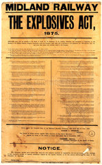 The 1875 Explosives Act  Midland Railway notice  issued 1903.