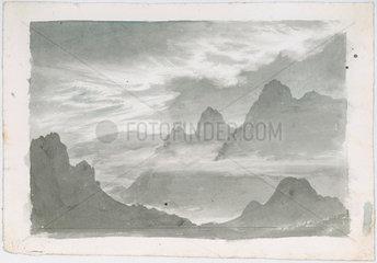 Layers of stratus  wreathing mountain slopes  c 1803-1811.