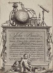 Trade card of John Bennet (Bennett)  Crown Court  London  18th century.