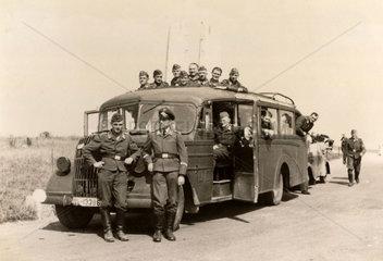 Luftwaffe airmen with bus  Second World War  1940s.
