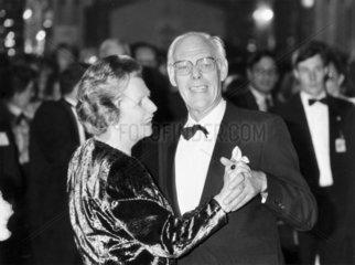 Margaret Thatcher dancing with Denis  October 1987.