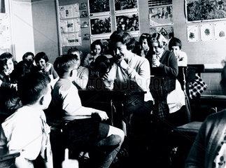 Barbara Castle  Labour MP  visiting Love Lane Primary School  c 1947.