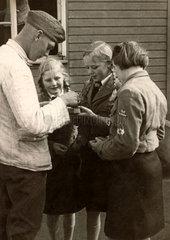 BDM girls and German soldier  Second World War  1940s.