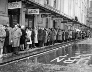 Queue outside the London Pavilion Cinema  West End  27 November 1960.