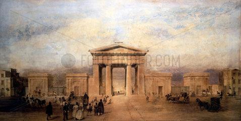 Entrance to Euston Station  London  c 1840s.