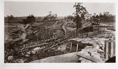 Confederate fortifications in front of Atlanta  Georgia  USA  1864.